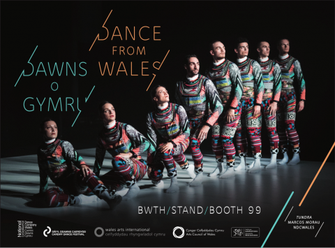 Dance in Wales image , tundra background image 8 dancers looking forward