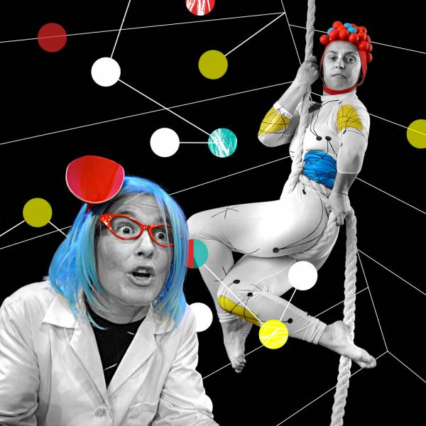 Flying atoms, 1 person in a blue wig, one person hanging on a rope